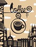 Znak nad kawiarnia z filiżanką kawy Zdjęcia Royalty Free