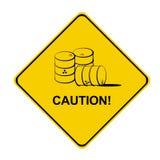 znak ostrożność żółty Fotografia Royalty Free