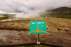 Znak ostrzegawczy gorąca ziemia Ostrożność wysokotemperaturowy na złotej okrąg wycieczce turysycznej blisko dużego gejzeru geoter Fotografia Stock