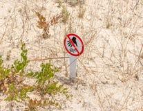 Znak ostrzegawczy - no dotyka tortoises - wizerunek fotografia stock