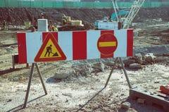 Znak ostrzegawczy przed budową Obrazy Stock