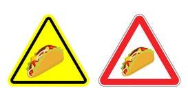 Znak ostrzegawczy uwagi taco Niebezpieczeństwo koloru żółtego znak Zdjęcie Stock