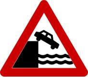 Znak ostrzegawczy z bez zabezpieczenia quayside Zdjęcie Royalty Free