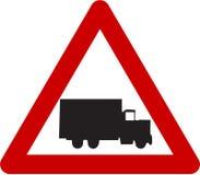 Znak ostrzegawczy z ciężarówką Zdjęcia Stock