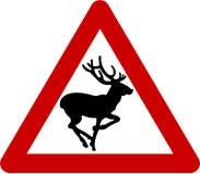 Znak ostrzegawczy z deers na drodze Zdjęcia Royalty Free