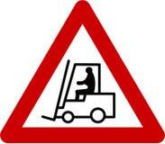 Znak ostrzegawczy z forklift Zdjęcia Royalty Free