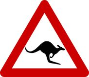 Znak ostrzegawczy z kangurami na drodze Obraz Stock