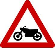 Znak ostrzegawczy z motocycle Zdjęcie Royalty Free