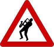 Znak ostrzegawczy z muzykiem jazzowym Obrazy Stock