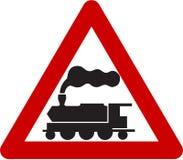 Znak ostrzegawczy z pociągiem Obraz Royalty Free