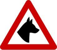 Znak ostrzegawczy z psem Zdjęcia Stock