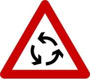 Znak ostrzegawczy z rondem Fotografia Royalty Free