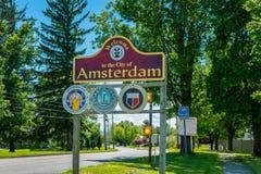 Znak Powitalny Amsterdam NY usa Obraz Royalty Free
