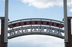 Znak powitalny dla Wisconsin stanu jarmarku parka Zdjęcia Royalty Free