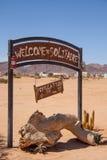 Znak Powitalny pasjans, miasteczko w Namibia Fotografia Royalty Free