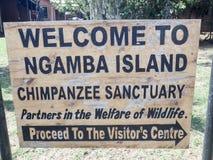 Znak powitalny przy Ngamba wyspą, szympansa sanktuarium, Uganda, Afr Fotografia Stock