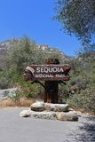 Znak powitalny sekwoja park narodowy, Kalifornia Obraz Stock