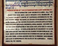 Znak przy Kambodżańskimi Killing polami opisuje substancje chemiczne używać obraz stock