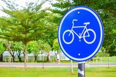 Znak rowerowy pas ruchu Fotografia Royalty Free