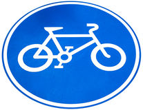 Znak rowerowy pas ruchu lub rower, odizolowywa na białym tle Zdjęcie Royalty Free