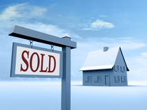 znak sprzedawanych w domu Obrazy Stock