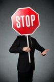 znak stop biznesmena gospodarstwa Zdjęcie Stock