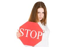 znak stop dziewczyny gospodarstwa Fotografia Royalty Free