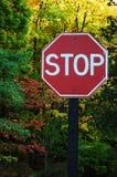 znak stop las Zdjęcia Royalty Free