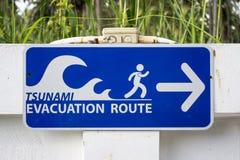 Znak, tsunami, droga ewakuacyjna, ewakuacyjna trasa, ewakuacja, trasa, ucieczka, ratunek, bezpieczeństwo, trawa, biel, błękit, zi Obrazy Stock