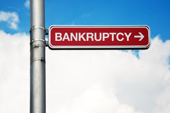 Znak uliczny - bankructwo Zdjęcia Stock
