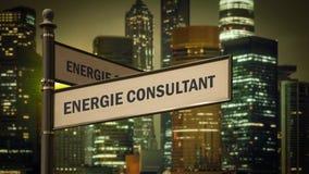 Znak Uliczny energii konsultant ilustracja wektor