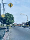 Znak uliczny fotografia w ranku zdjęcie stock