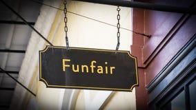 Znak Uliczny Funfair zdjęcie royalty free