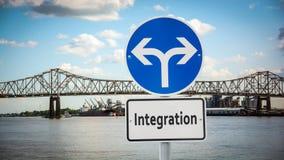 Znak Uliczny integracja obraz stock