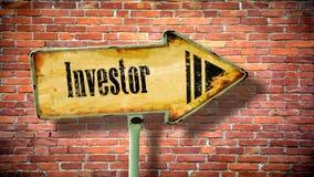 Znak Uliczny inwestor zdjęcia stock
