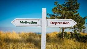 Znak Uliczny motywacja versus depresja obraz royalty free