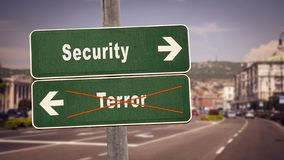 Znak Uliczny ochrona versus terror obrazy stock