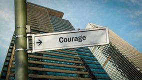 Znak Uliczny odwaga fotografia stock