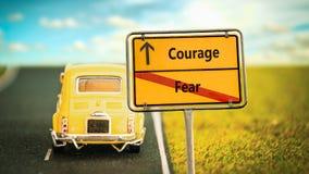 Znak Uliczny odwaga versus strach obraz stock