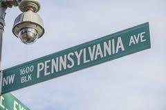 Znak uliczny - Pennsylwania aleja w washington dc - washington dc KOLUMBIA, KWIECIEŃ - 7, 2017 Obraz Royalty Free