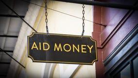 Znak Uliczny pomocy pieniądze zdjęcia stock