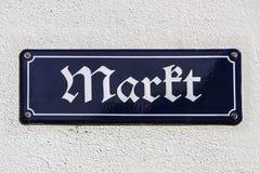 Znak uliczny rynek Crimmitsch, Niemcy, 2015 Zdjęcie Stock