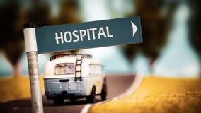 Znak Uliczny szpital obraz royalty free