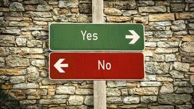 Znak Uliczny tak versus ?adny zdjęcie stock