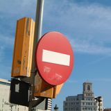 Znak uliczny w Barcelona zdjęcie stock
