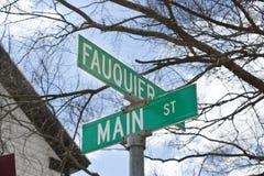 Znak uliczny w równinach, Virginia Fotografia Stock