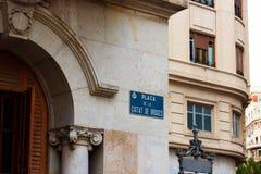 Znak uliczny w Walencja, Hiszpania zdjęcie royalty free
