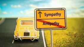 Znak Uliczny współczucie versus antypatia zdjęcie royalty free