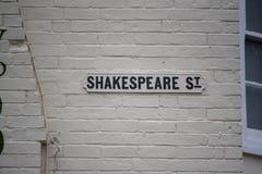Znak uliczny wspomina William Shakespeare Obraz Royalty Free