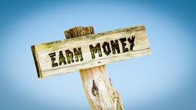 Znak Uliczny Zarabia pieniądze fotografia royalty free